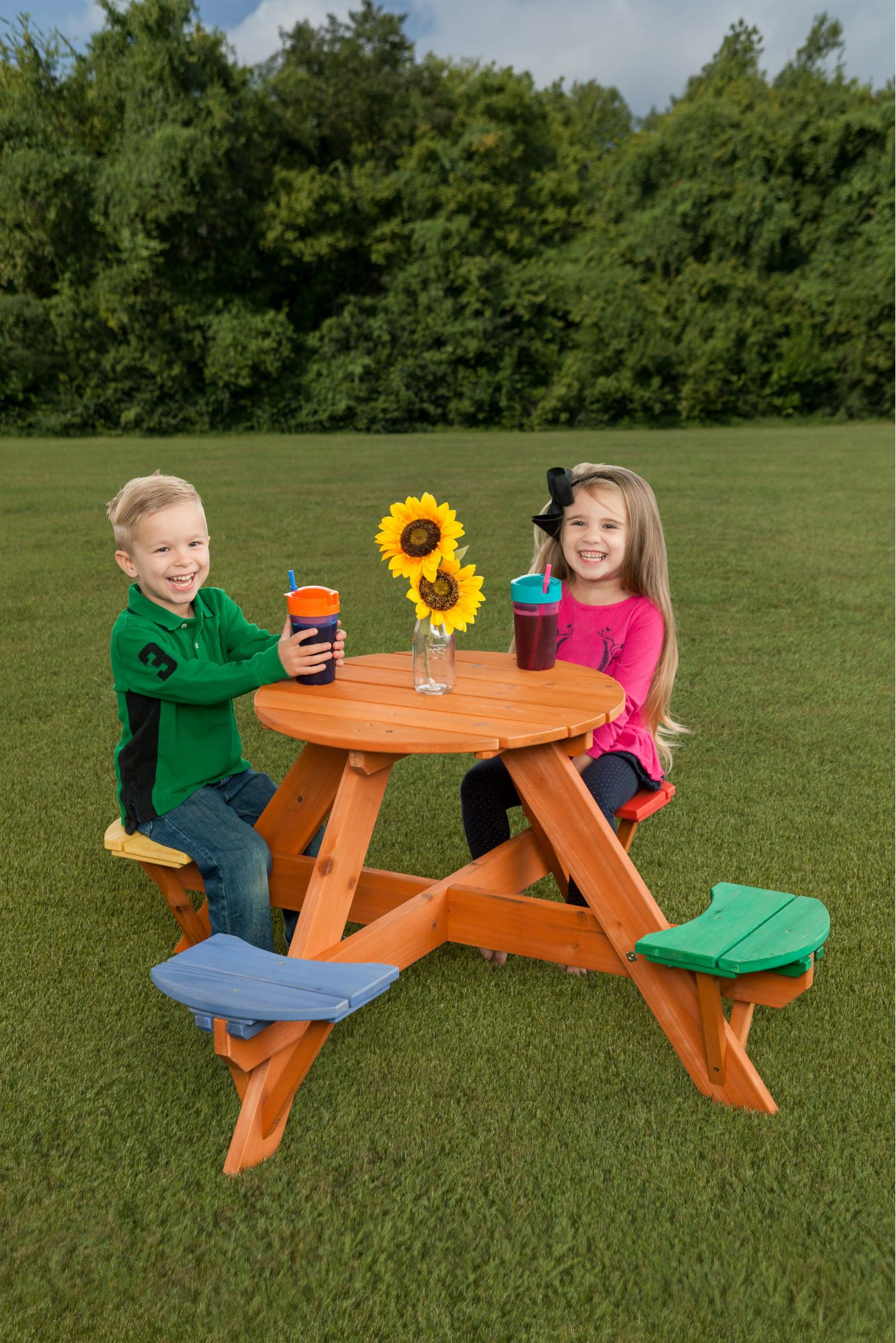 Children's Round Wooden Picnic Table w  Multicolor Seats by Creative Cedar Designs