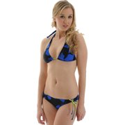 Raisins Juniors Bikini Swimsuit Blue Black Print Triangle Halter 2 Piece Set Sizes: Medium