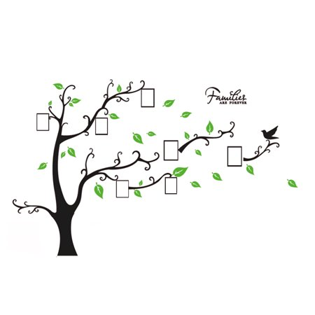 - Unique Bargains Tree Leaf Pattern Window Living Room Decal Wall Decor Sticker Black Green
