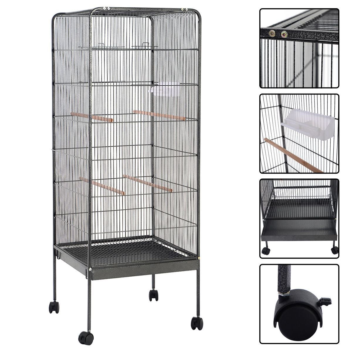 Costway 58'' Large Parrot Bird Cage Play Top Pet Supplies w Perch Stand Two Doors Flattop by Costway