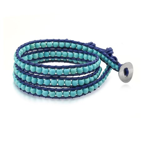 Bling Jewelry Reconstituted Turquoise Gemstone Beads Leather Wrap Surf Bracelet - Blue Bead Bracelet
