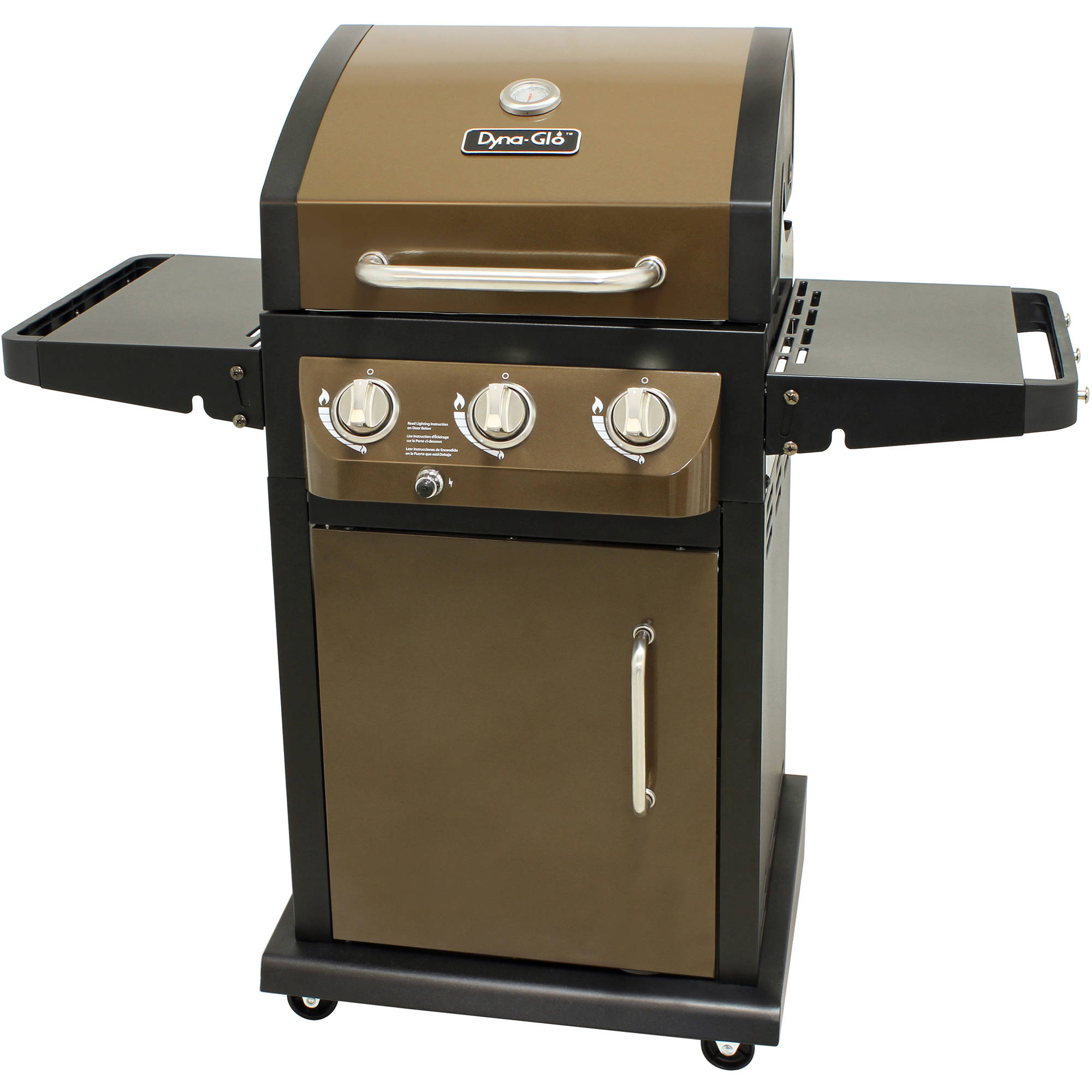 Dyna-Glo DGB390BNP-D Smart Space Living 3-Burner LP Gas Grill, Bronze