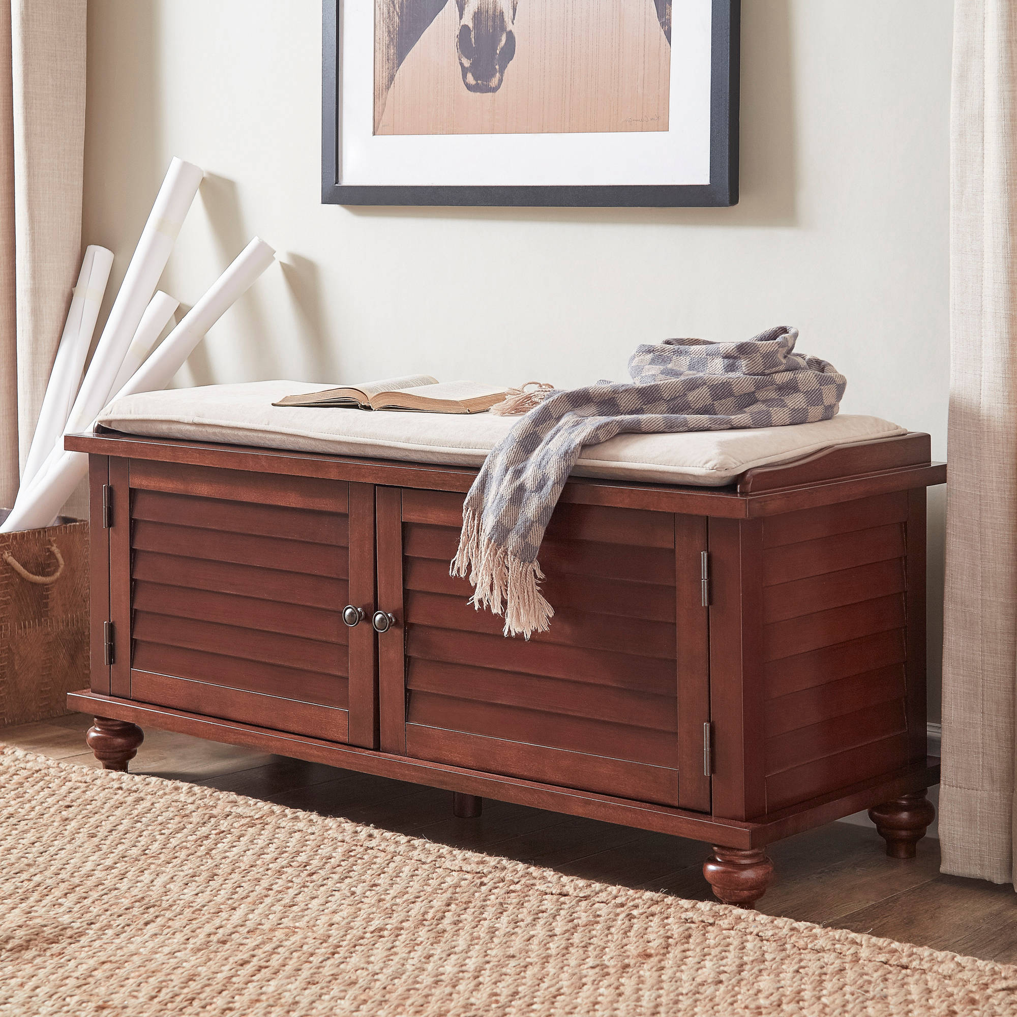 Weston Home Georgia Entryway Storage Bench, Multiple Colors