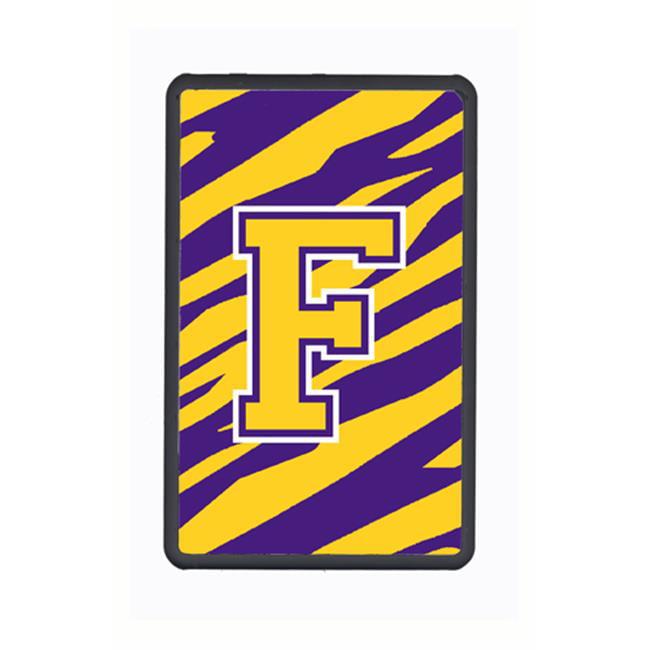 carolines treasures cj1022-f-kfc 4.25 x 7 in. tiger stripe purple gold initial f monogram kindle fire snap on case