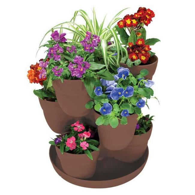 EmscoGroup 2385-1 Bloomers Flower Tower 3-Tier Set - Brown
