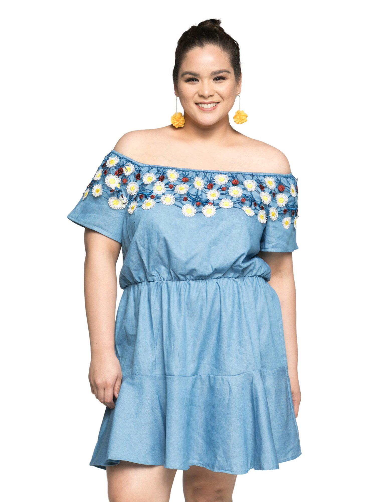 333131fc2d6 Xehar - Xehar Women s Plus Size Casual Off Shoulder Elastic Waist Short Summer  Dress - Walmart.com