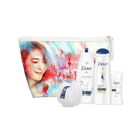 Wash Day Set (Dove 5-Pc Shanghai Beauty Gift Set with BONUS Pouf & Makeup Bag (Body Wash, Shampoo, Deo))