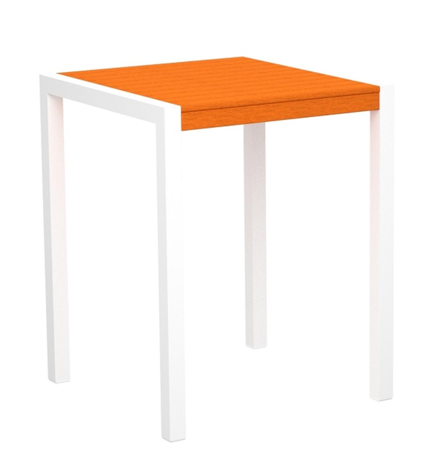 """37"""" Recycled Earth-Friendly Outdoor Counter Table - Tangerine with White Frame"""