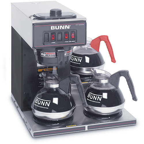 BUNN VP17-3, 12-Cup Commercial Coffee Brewer, 3 Lower Warmers, Black, 13300.0013
