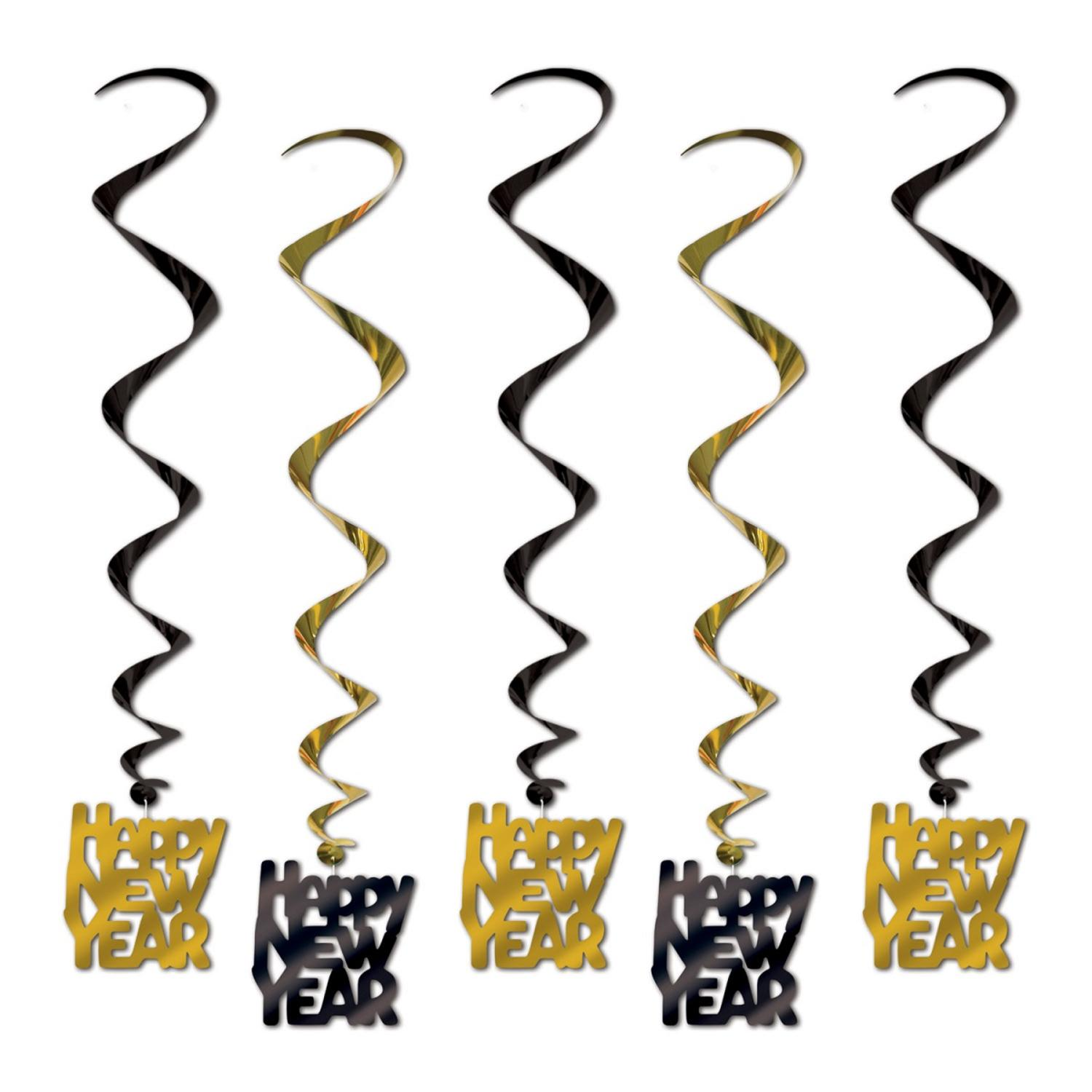 """Club Pack of 30 Gold and Black Whirls """"Happy New Year"""" Party Decoration 33"""""""
