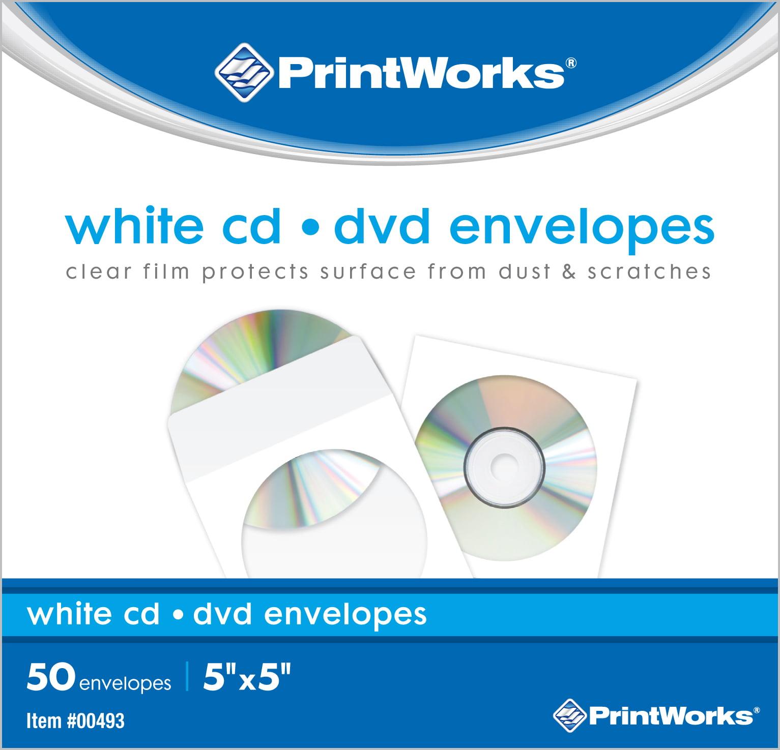 """Printworks CD/DVD Envelopes, FSC Certified, (12 pack bundle) 600 Count, 5"""" x 5"""" (00493C)"""