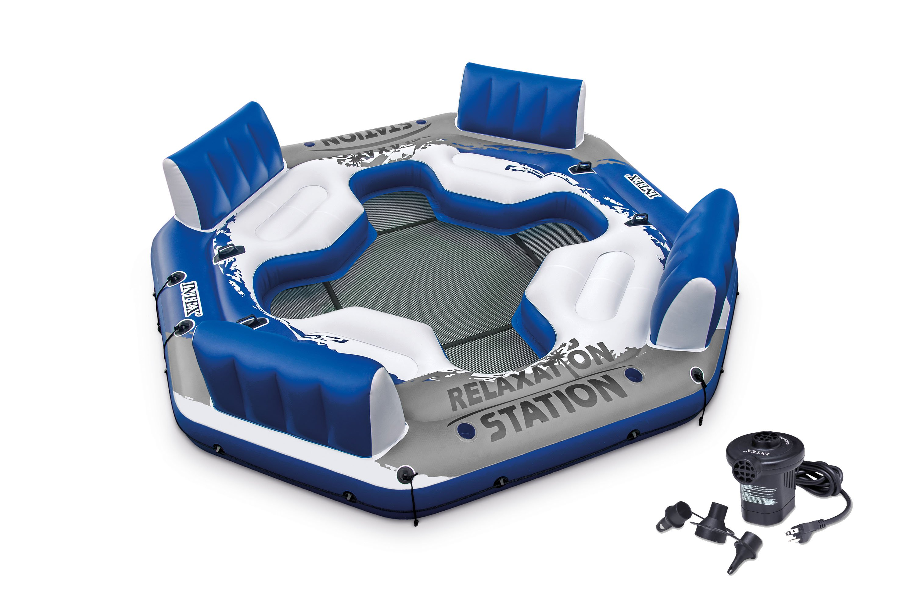 Intex Pacific Paradise Relaxation Station Water Lounge 4-Person Raft w  Air Pump by Intex