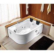 "71"" x 47"" Corner Bathtub With 12 Whirlpool Massage Jets Shower Wand Waterfall Faucet FM Radio"