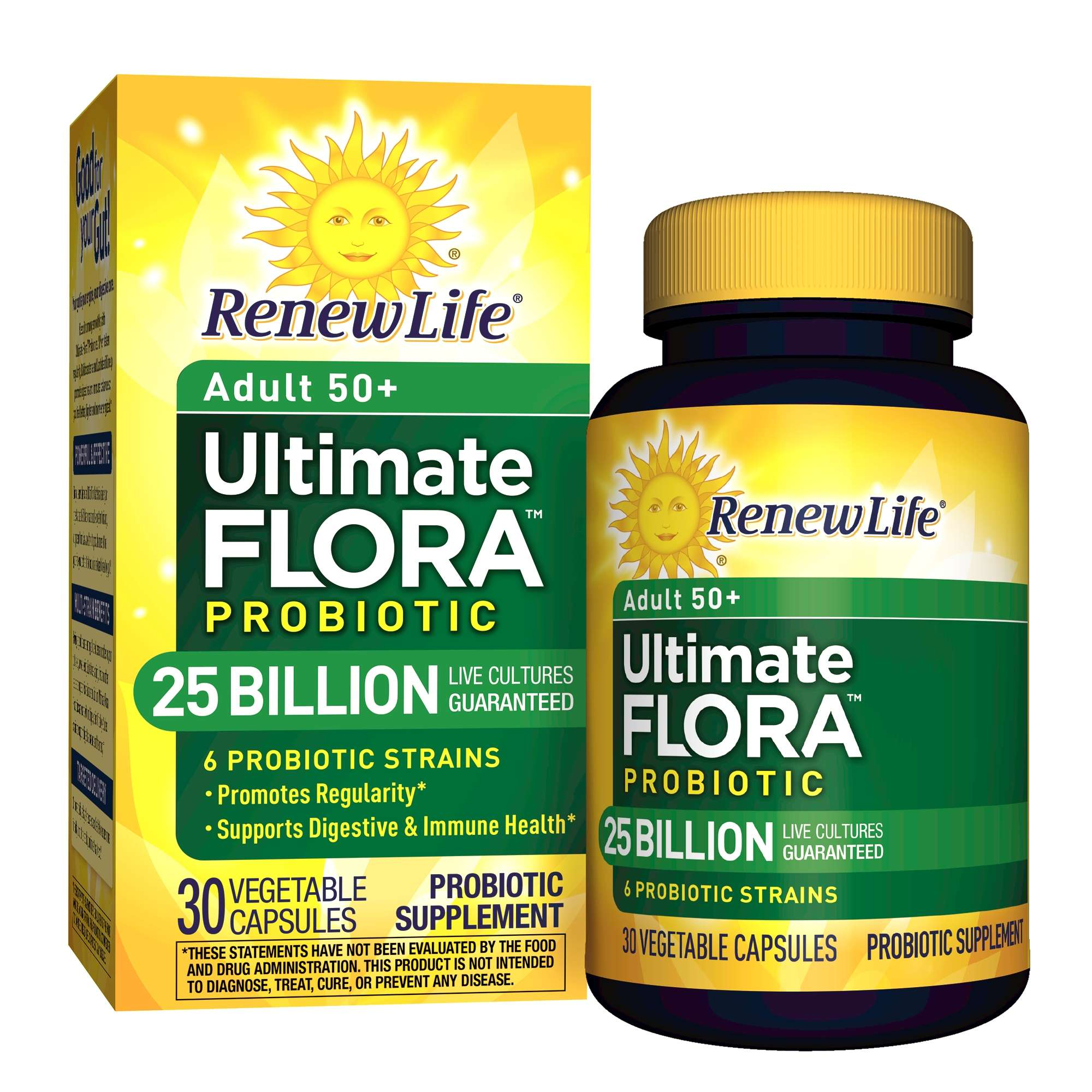 Renew Life Adult 50+ Probiotic, Ultimate Flora, 25 Billion, 30 Capsules - Walmart.com