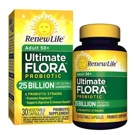 Renew Life Adult 50+ Probiotic, Ultimate Flora, 25 Billion, 30 Capsules - Walmart.com