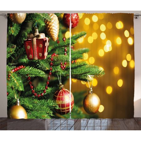 Decorated Window (Christmas Curtains 2 Panels Set, Close Up Decorated Christmas Tree Branches on Blurred Fairy Backdrop Picture, Window Drapes for Living Room Bedroom, 108W X 84L Inches, Gold Green Red, by)