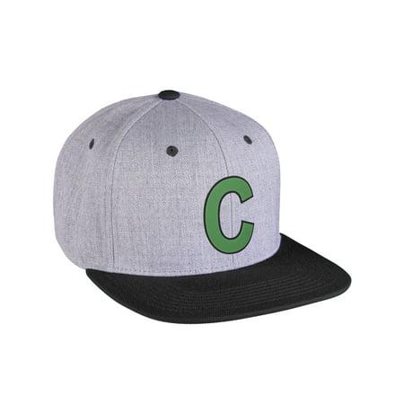 Original Flatbill Snapback Wool Blend Custom Initial Letters A to Z Grey Black Hat Black Green Letter C