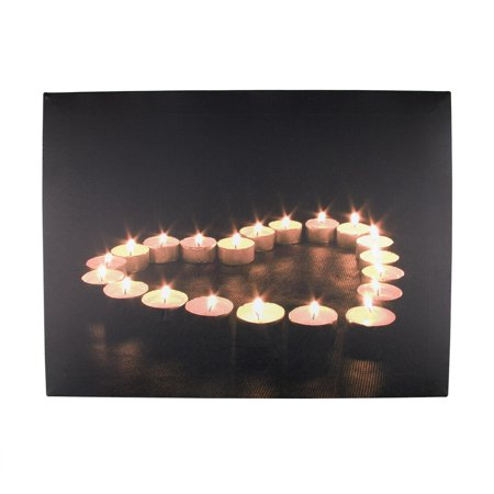 Candle Shaped Wall Lights : LED Lighted Flickering Heart-Shaped Candles Canvas Wall Art 11.75