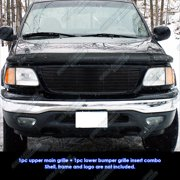 Compatible with 99-03 F150 4WD 99-02 Expedition Black Main Upper Billet Grille Set F67658H