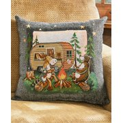 """Woodsy Camper Tapestry 17"""" Accent Throw Pillow - Woodland Creatures"""