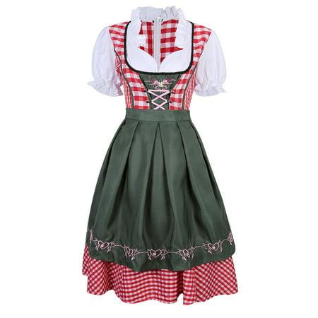 SruSru Women Dirndl Serving Maid German Beer Girl Costume for Cosplay - Maid Costumes For Girls