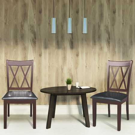 Gymax Set of 2 Dining Side Chairs PU Upholstered Seat Armless High Back Furniture ()