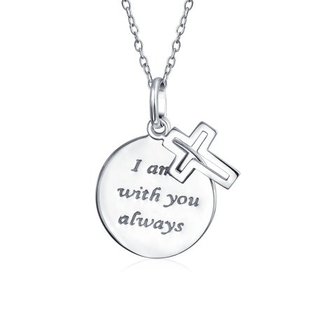 Eternal Circle Cross I Am Always With You Word Quote Pendant Round Disc Necklace For Women For Teen 925 Sterling Silver