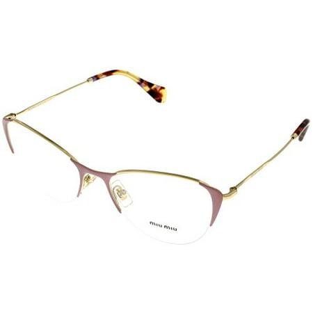 77ee1ac554 Miu Miu Prescription Eyewear Frames Women Cat Eye Gold Pearl Pink MU 50OV  UBP1O1 Size  Lens  Bridge  Temple  53 18 140 44 - Walmart.com