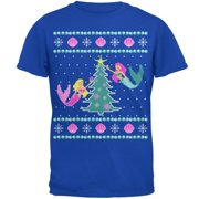Mermaid Tree Ugly Christmas Sweater Mens Soft T Shirt Royal 2XL