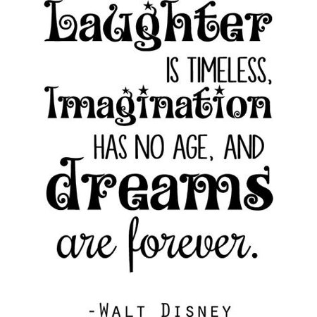 "Walt Disney Wall Lettering - Bedroom Quote - ""Laughter..Imagination...Dreams"" - Vinyl Decal - 20""x14"""