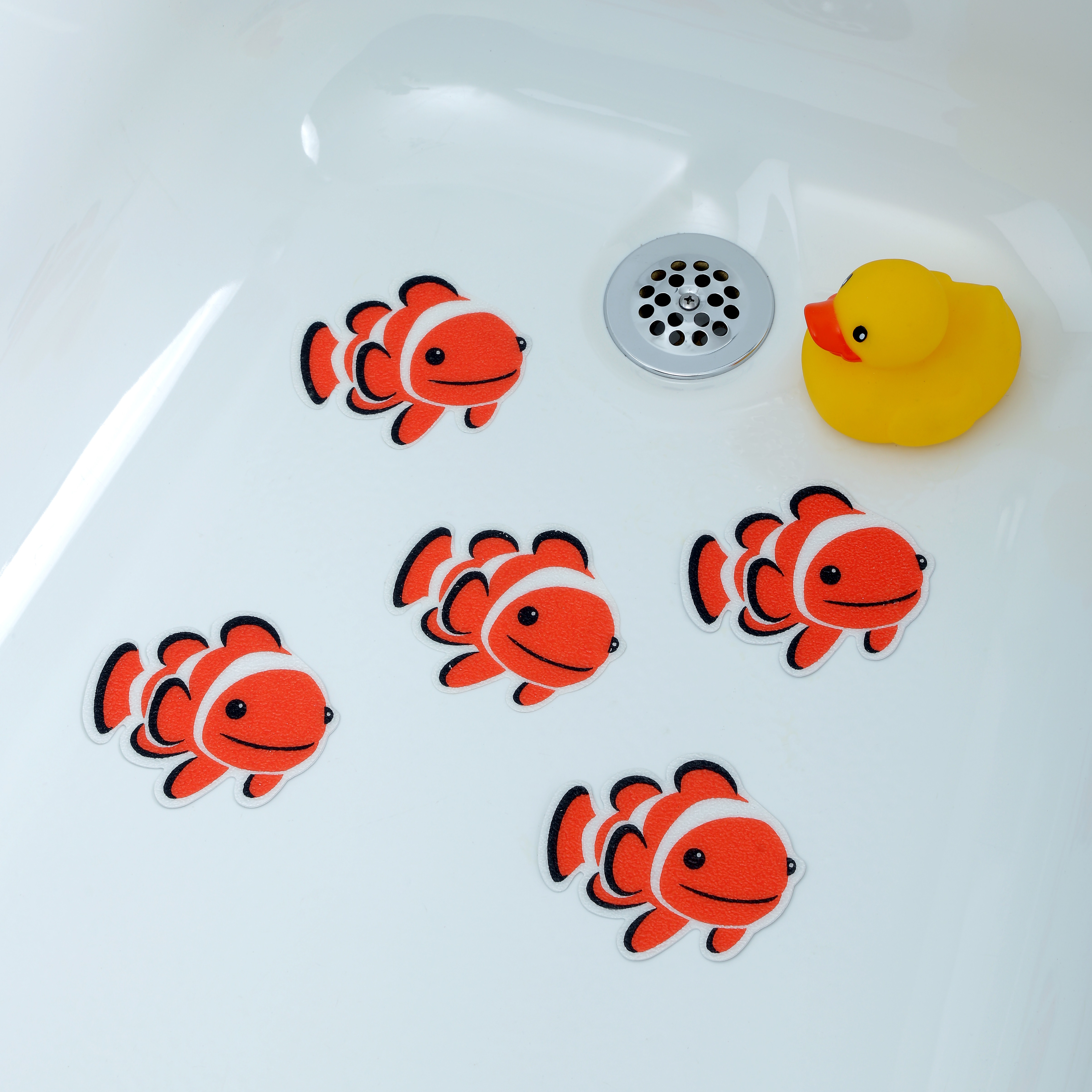 SlipX Solutions Adhesive Bath Treads: Clownfish Tub Tattoos (5 Count)