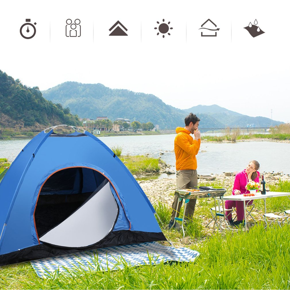 3-4 Person Quick Automatic Pop Up Beach Sun Shade Shelter Outdoor Camping Tent by