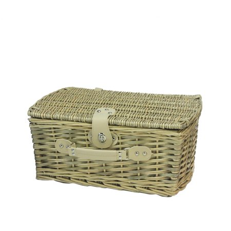 2-Person Hand Woven Warm Gray and Natural Willow Picnic Basket Set with Accessories - image 1 of 2