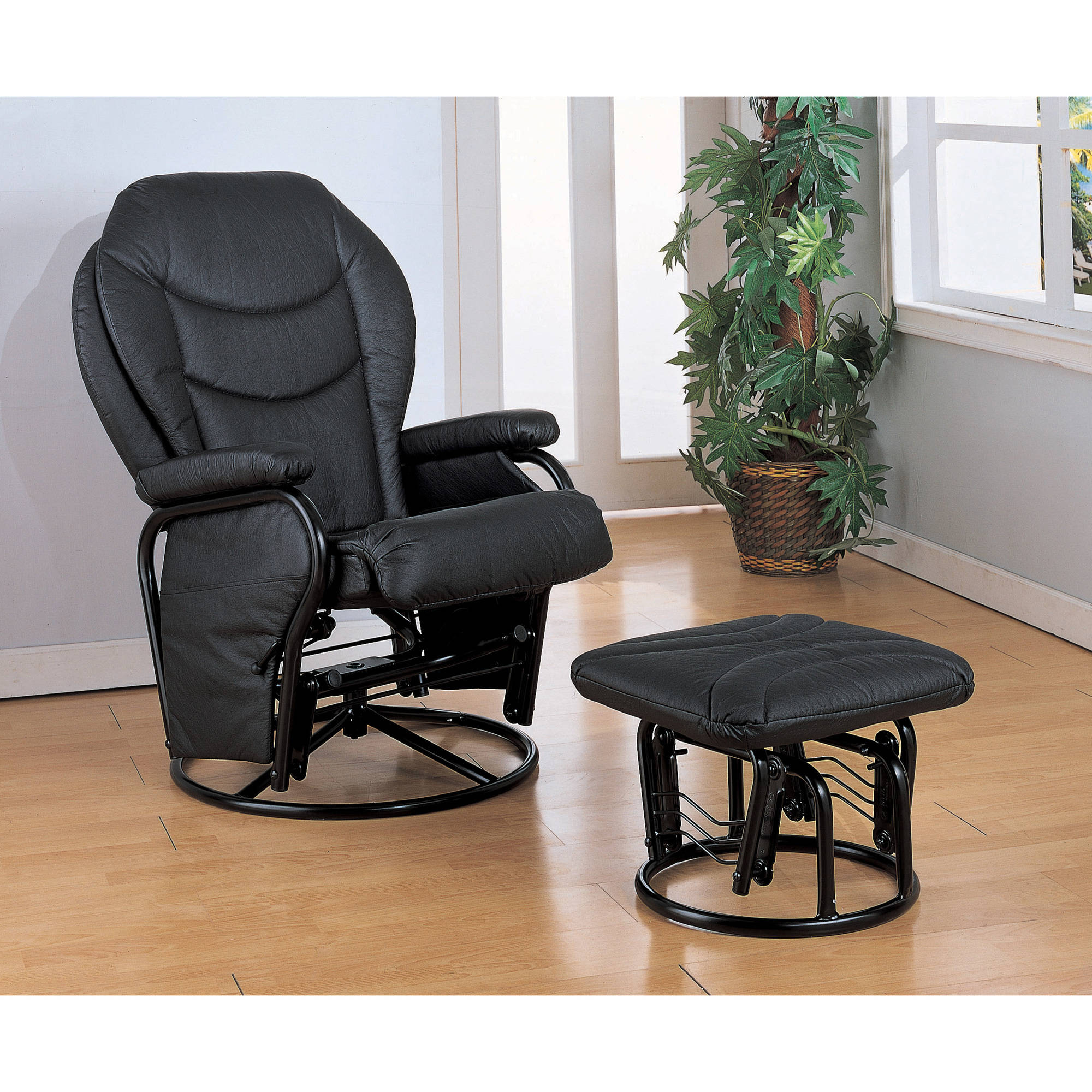 Coaster Leatherette Cushion Swivel Glider And Ottoman