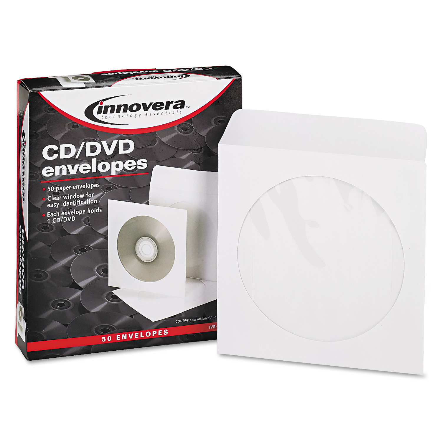 Innovera CD/DVD Envelopes, Clear Window, White, 50/Pack