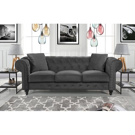 Classic Velvet Scroll Arm Tufted Button Chesterfield Sofa Grey