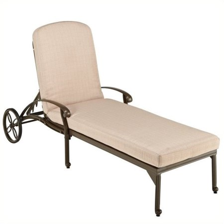 Hawthorne Collections Patio Chaise Lounge with Taupe Cushions