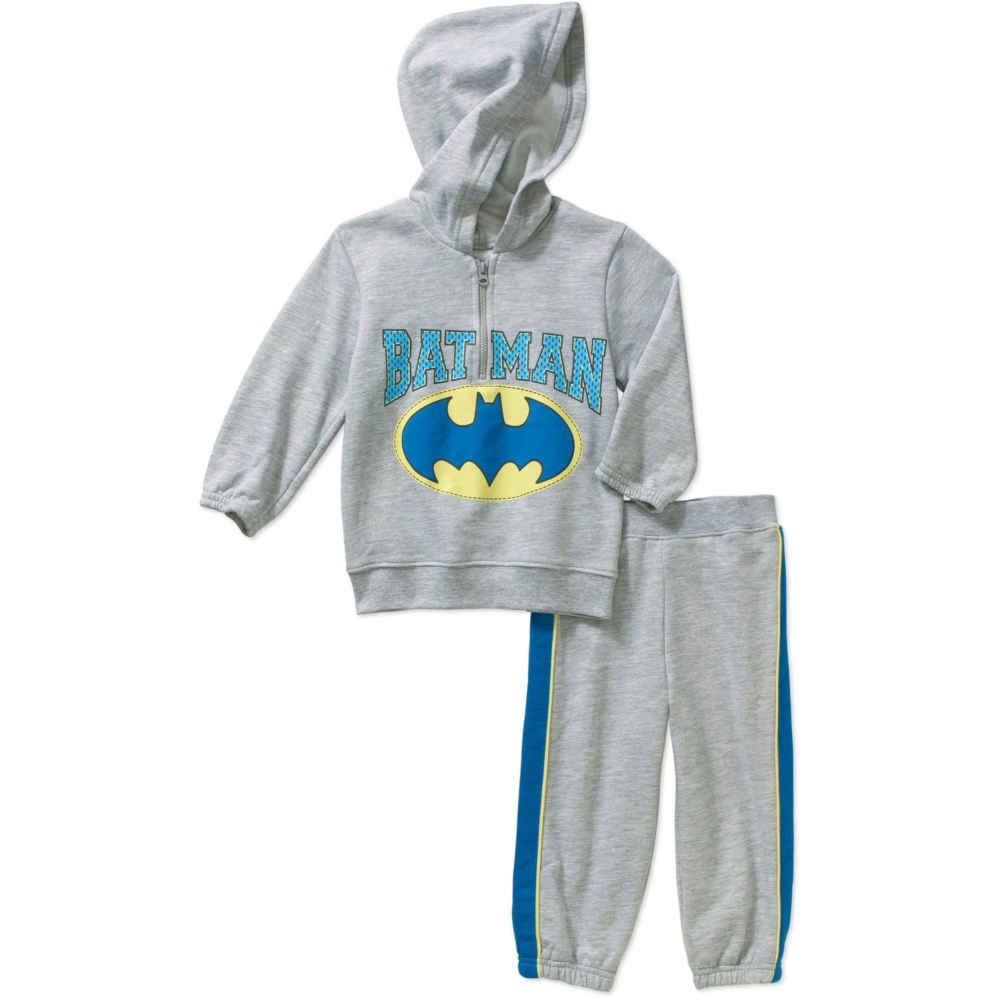 Batman Toddler Boy Half Zip Hooded Fleece Top and Pant Set