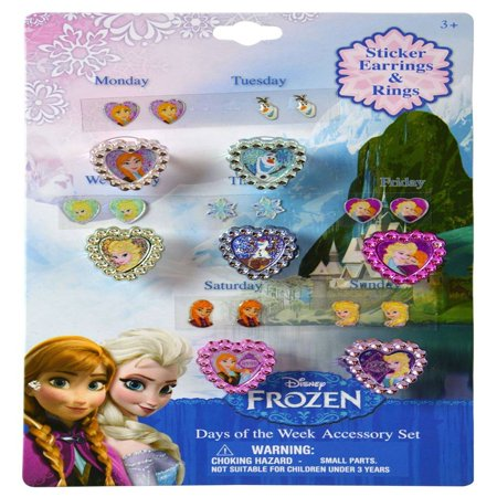 American Princess Jewelry Set - Disney Princess Frozen Stick On Earring & Ring 7 Day Jewelry Set Toys & Games