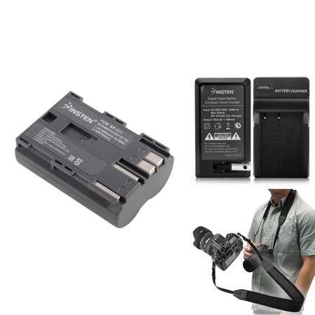 Insten For Canon BP-511 BP-512 EOS 10D Battery+Charger+Strap (3-in-1 Accessory Bundle) Bp 512 Compatible Battery
