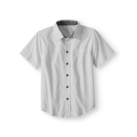 Wonder Nation Short Sleeve Stretch Button Up Wavy Stripe Shirt (Little Boys, Big Boys, & Husky)