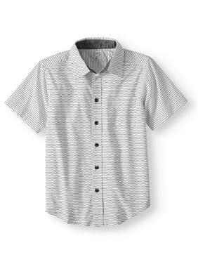 aac85e99 Product Image Wonder Nation Short Sleeve Stretch Button Up Wavy Stripe Shirt  (Little Boys, Big Boys