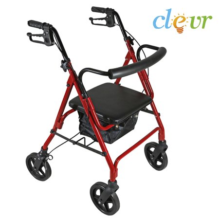 Clevr Folding Drive Rollator Medical Walker Seat Rolling Transport  Red