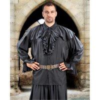 The Pirate Dressing C1091 Half Cape Medieval Shirt, Black - 2XL