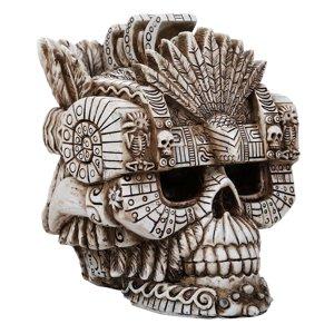 Montezuma Aztec Ruler Skull Collectible Figurine Antique Skull Bone Finish 6 Inch L