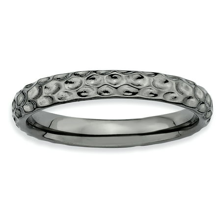 Sterling Silver Stackable Expressions Black-plated Ring Size 6 - image 2 de 3