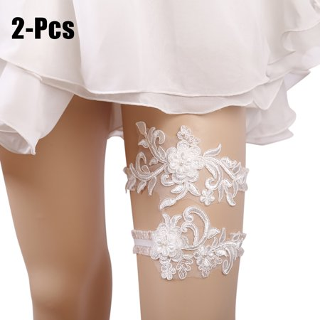 2PCS Wedding Garter Fashionable Lace Flower Pearl Decor Elastic Bridal Garter Wedding Garter Belt