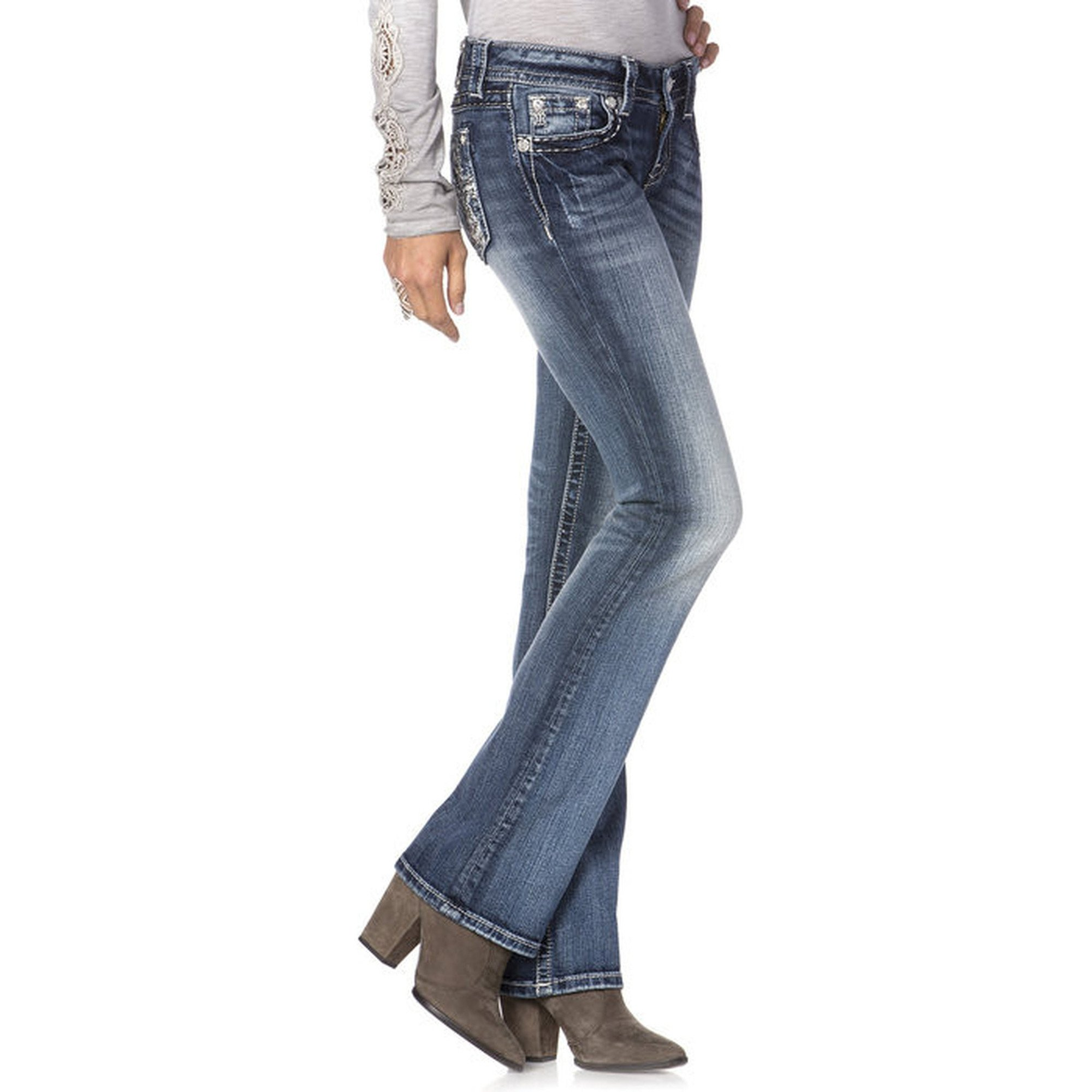 Miss Me Faded Silver Cross Boot Cut Jeans