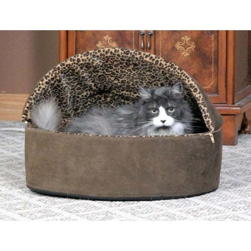 """Thermo-Kitty Bed Deluxe Hooded Small Mocha Leopard 16"""" x 16"""" x 14"""" 4 watts"""