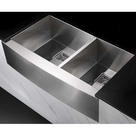 Anzzi Elysian Farmhouse 36 in. 60/40 Double Bowl Kitchen Sink with Faucet in Polished Chrome - image 1 of 2